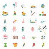 picture of infant  - Babies toys icons on a theme of infants and their accessories - JPG