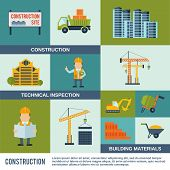 picture of bobcat  - Construction icons flat set with technical inspection building materials elements isolated vector illustration - JPG