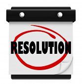 stock photo of promises  - Resolution word on a calendar page to illustrate a new year - JPG
