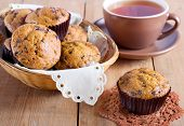 foto of chocolate muffin  - Chocolate chip muffins and cup of tea - JPG