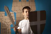 pic of berserk  - photo of the child on the medieval castle decorations background made of cardboards - JPG