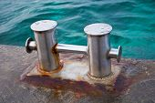 stock photo of bollard  - the big Bollard on moorage near sea - JPG
