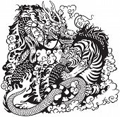stock photo of white-tiger  - dragon and tiger fighting - JPG