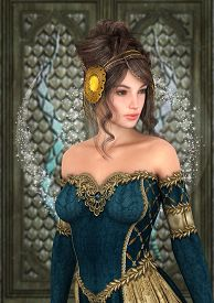stock photo of cinderella  - 3D digital render of a beautiful fairytale princess on a fantasy castle background - JPG