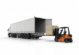 picture of forklift  - 3d render of forklift loading a truck - JPG