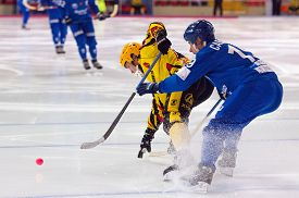 pic of dynamo  - MOSCOW - DECEMBER 12 2014: Saveliev D. (19) fight during the Russian bandy league game Dynamo Moscow vs SKA Neftyanik in sport palace Krilatskoe Moscow Russia. Dynamo won 9:1