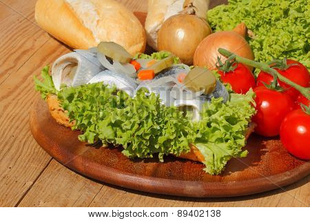 Fish Rolls With Sour Herring, Pickled Herring