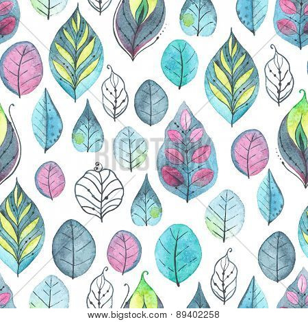Watercolor abstract pattern of leaves, vector illustration on white background.