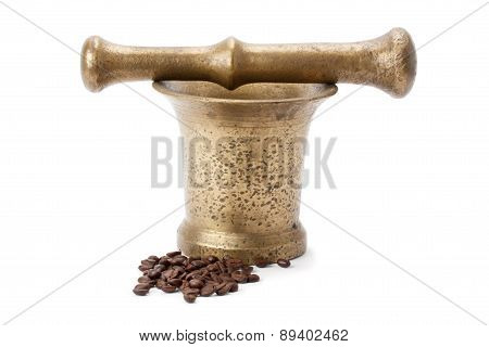 Brass Mortar And Pestle, And Coffee