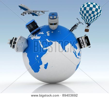 Types of transport on a globe. Concept of international tourism. 3d render Illustration