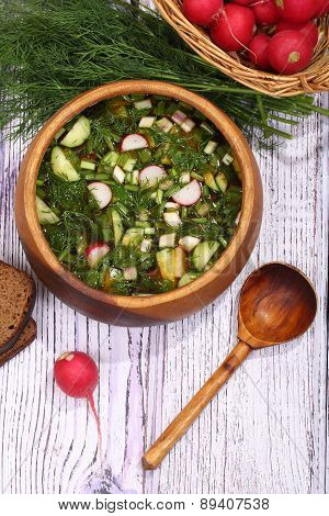 Okroshka With Kvass In A Wooden Bowl Submitted With Rye Bread