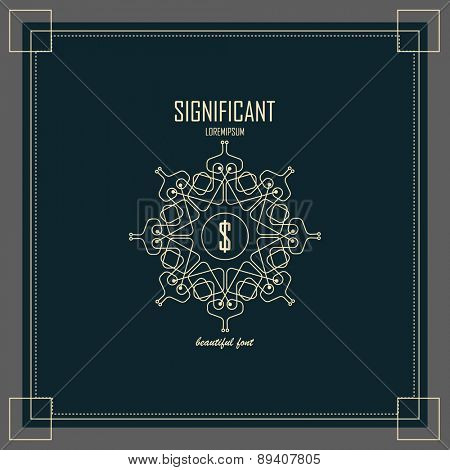 Luxury Logos template flourishes calligraphic elegant ornament lines. Business sign, identity for Restaurant, Royalty, Boutique, Hotel, Heraldic, Jewelry, Fashion and other vector illustration