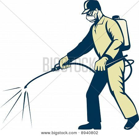 Pest control exterminator spraying