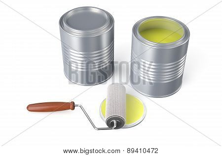 Cans With Yellow Paint And Roller Brush