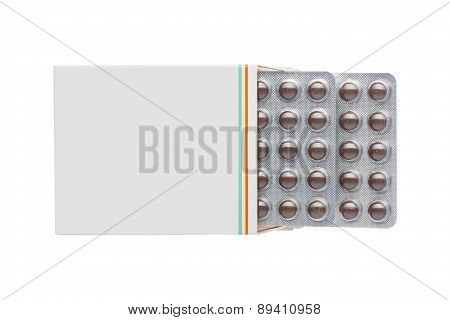 Grey box with brown pills blister pack