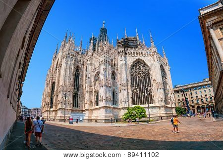 People In Front Of Cathedral In Milan, Italy