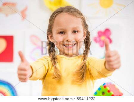 Little Girl Making Thumbs Up