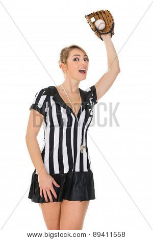Referee With Baseball Bat And Ball