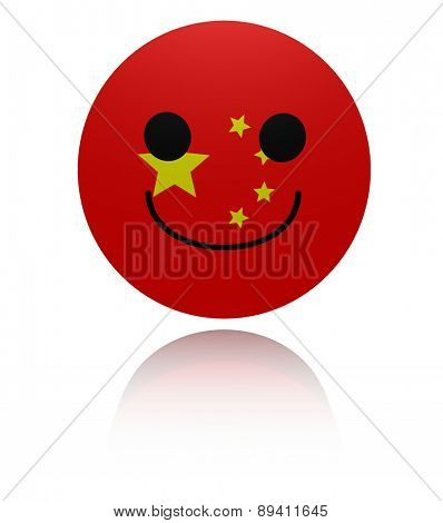 Chinese happy icon with reflection illustration