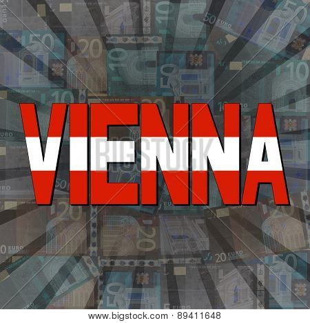 Vienna flag text on Euros sunburst illustration