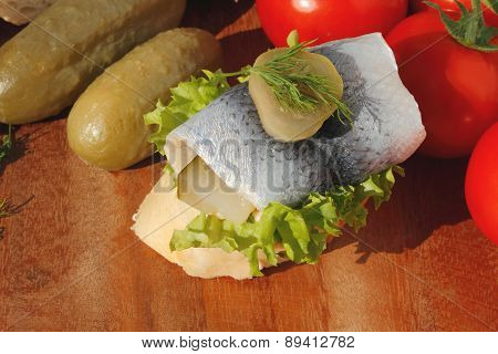 Baguette Slice With Sour Herring, Pickled Herring