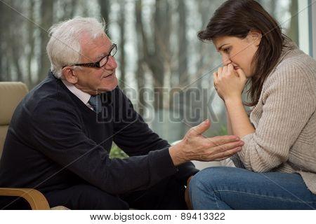 Psychotherapist Comfort His Client