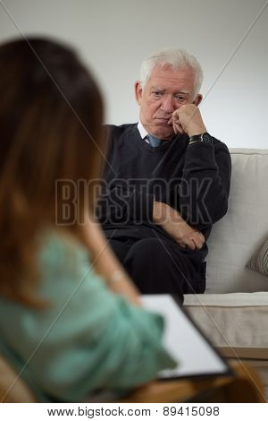 Elderly Man At Psychotherapist