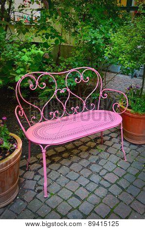 Pink bench.