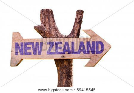 New Zealand wooden sign isolated on white background