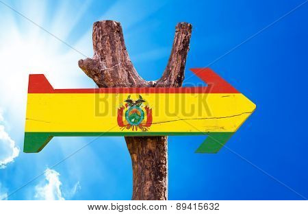 Bolivia Flag wooden sign with sky background
