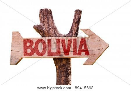 Bolivia wooden sign isolated on white background
