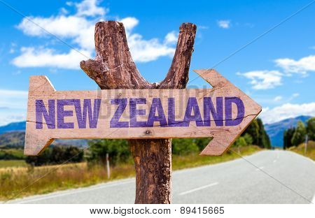 New Zealand wooden sign with road background
