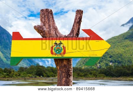 Bolivia Flag wooden sign with mountains background