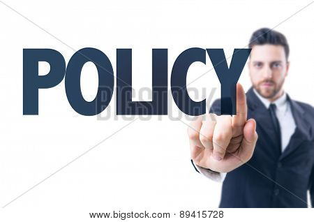 Business man pointing the text: Policy