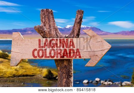 Laguna Corada wooden sign with Laguna Corada background