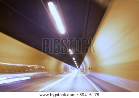Cars In A Tunnel - Slow Shutter Speed