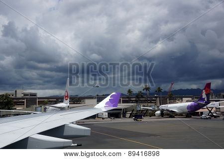 Wing Of Plane And Hawaiian Airlines And Japan Airlines (j-air) Airplanes As They Sit At Airport Term
