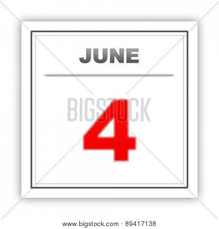 June 4. Day on the calendar. 3d