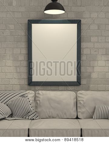 3d render of empty picture frame on wall