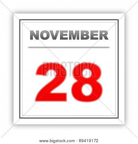November 28. Day on the calendar. 3d
