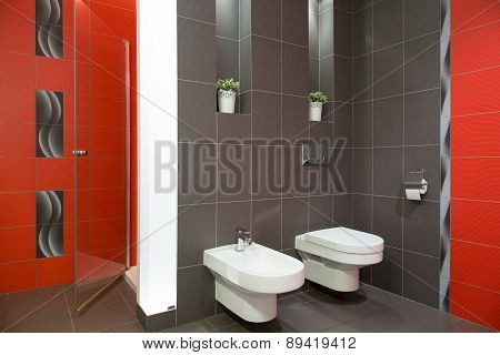 Restroom With Toilet And Bidet