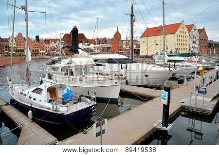Boats in historic marine in Gdansk, Poland.