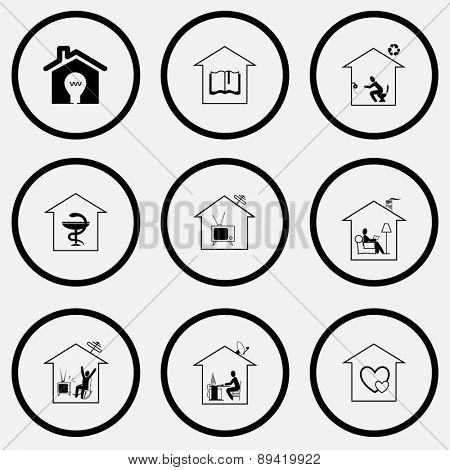 Home set. Black and white set raster icons.