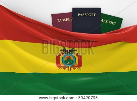 Travel and tourism in Bolivia, with assorted passports