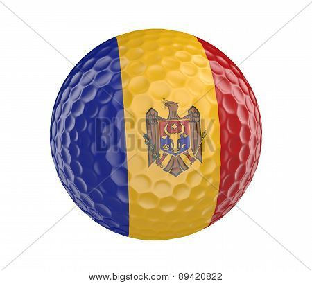Golf ball 3D render with flag of Moldova, isolated on white