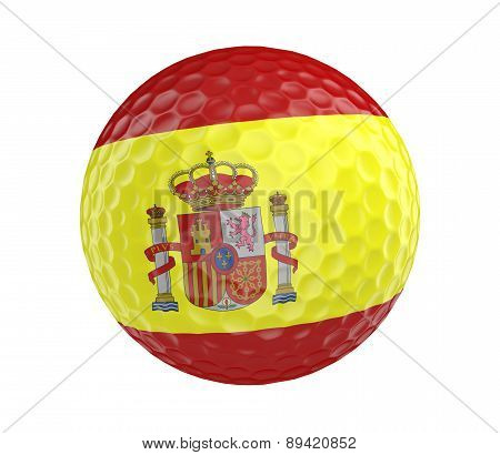 Golf ball 3D render with flag of Spain, isolated on white