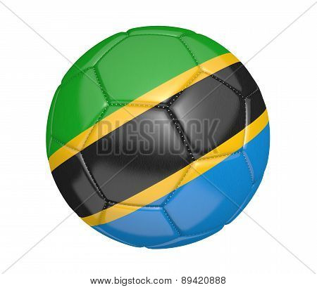 Soccer ball, or football, with the country flag of Tanzania