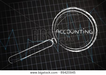 Accounting, Magnifying Glass Focusing On Business Performance Graph