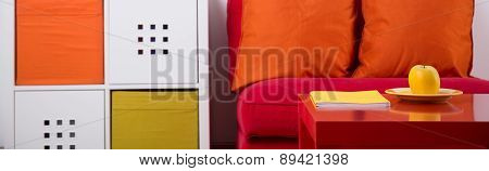 Color Sofa And Cupboard