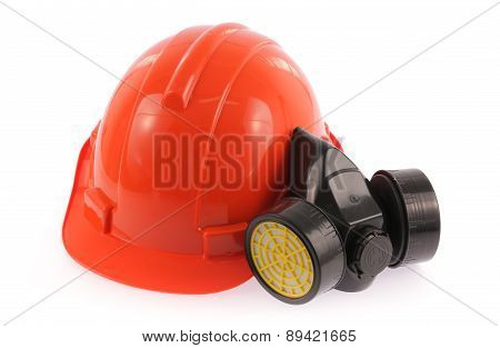 Orange Safety Helmet And Chemical Protective Mask Isolated On White Background